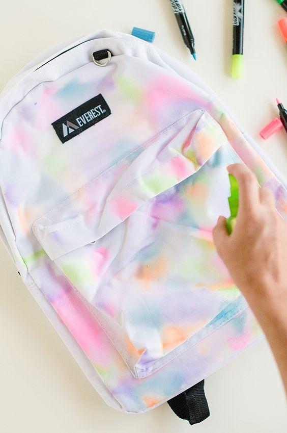 DIY Rainbow Watercolor Backpack.