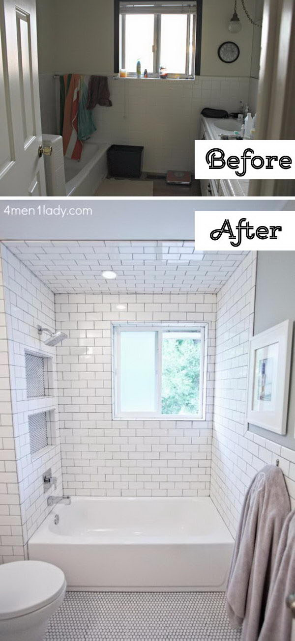 The Floor to Ceiling Subway Tile Was Used to Make the Bathroom Sparkle .