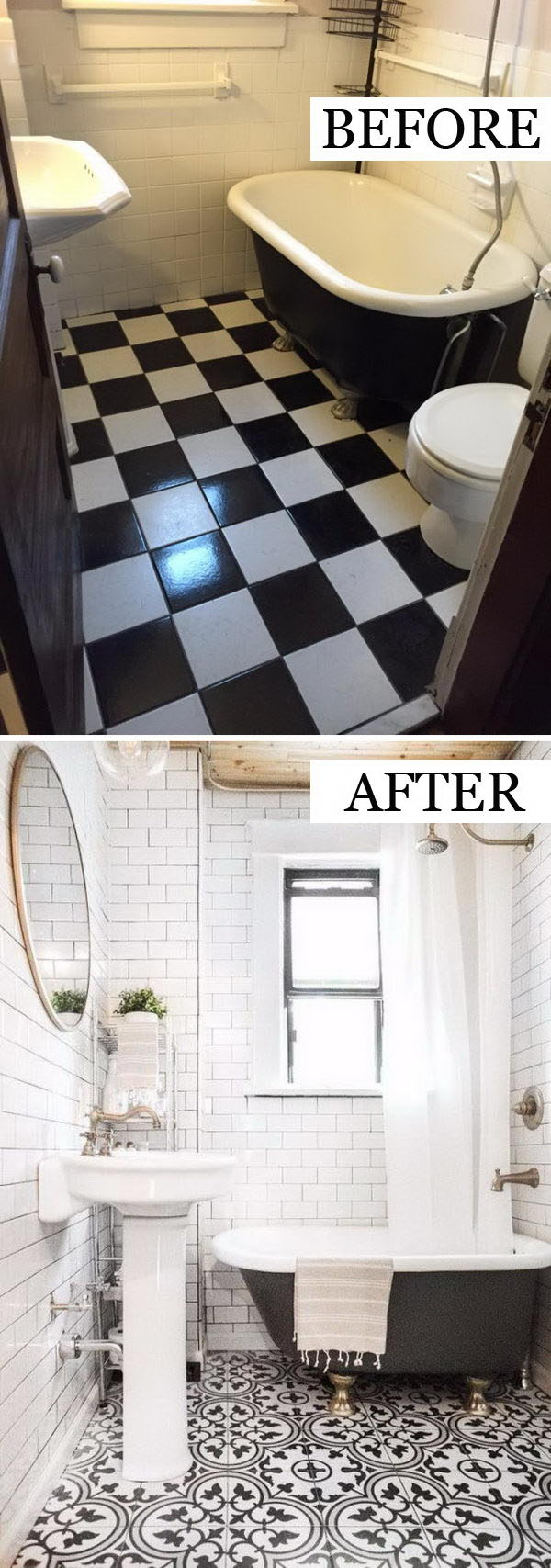 Keeping The Walls White Prevents The Black and White Retro Floor Tile from Feeling Busy.