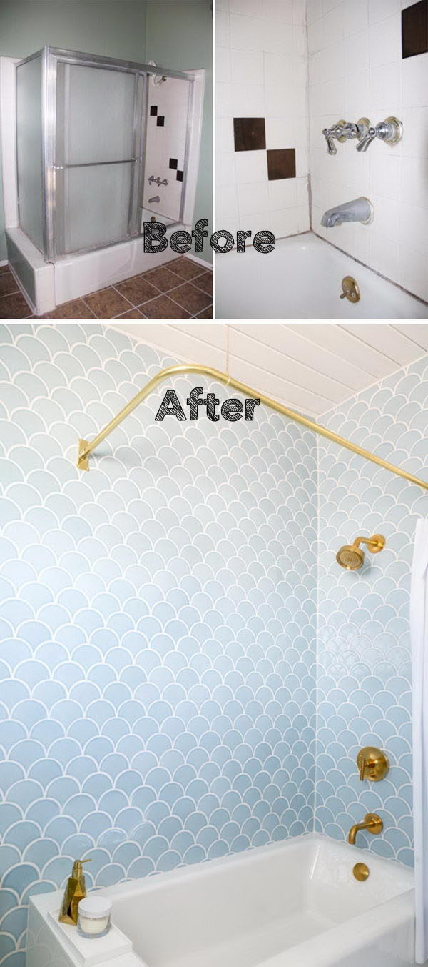 Bathroom Renovation with Gorgeous Blue Scale Tile and Golden Details.