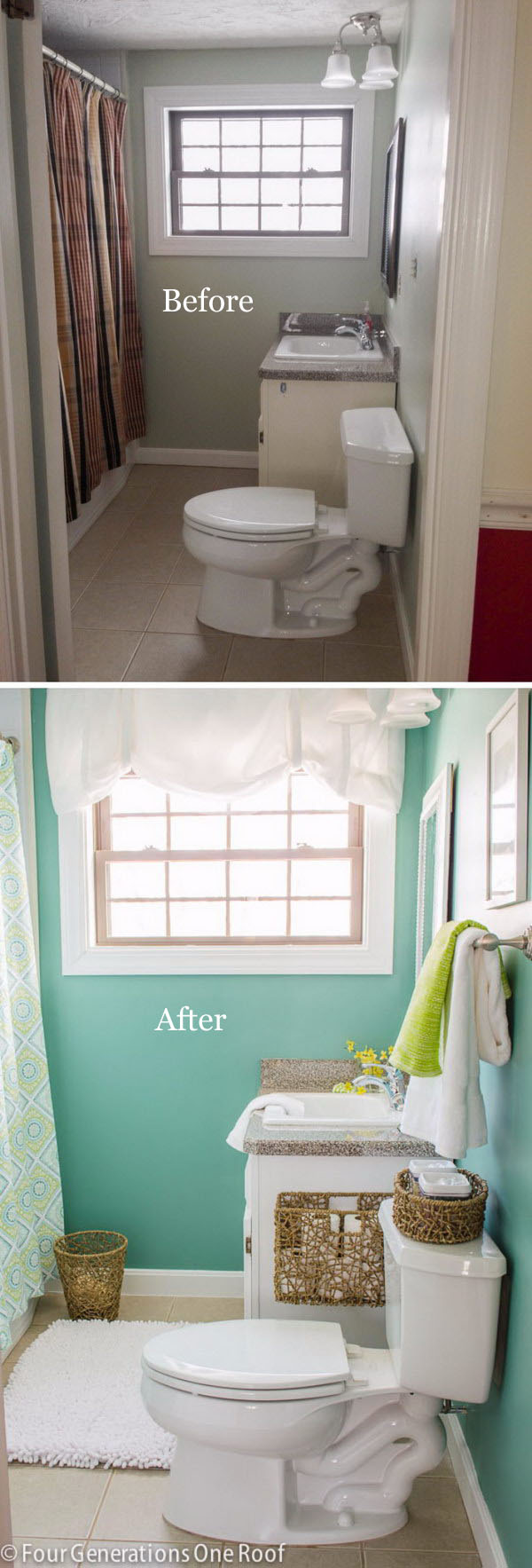 Low Cost Bathroom Makeover From Brown to Green Spa .