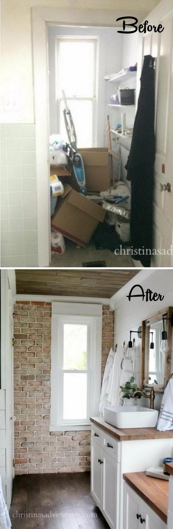 Farmhouse Bathroom Makeover with a DIY Brick Veneer Wall.