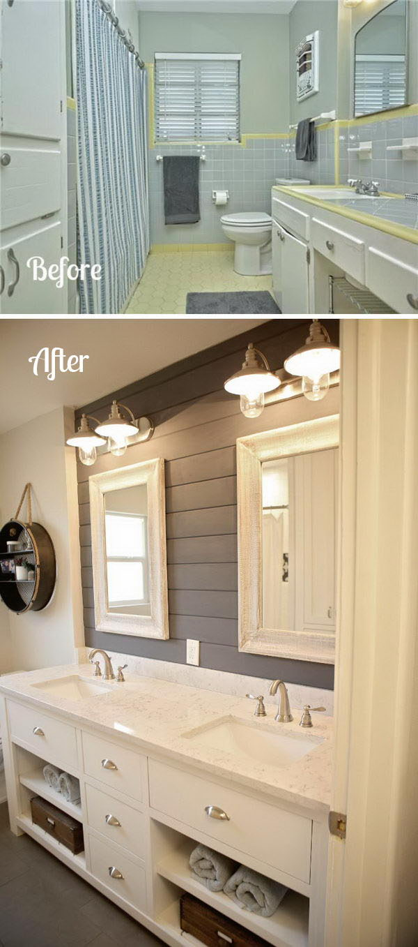 Give Your Bathroom A New Look With A Shiplap Accent Wall.
