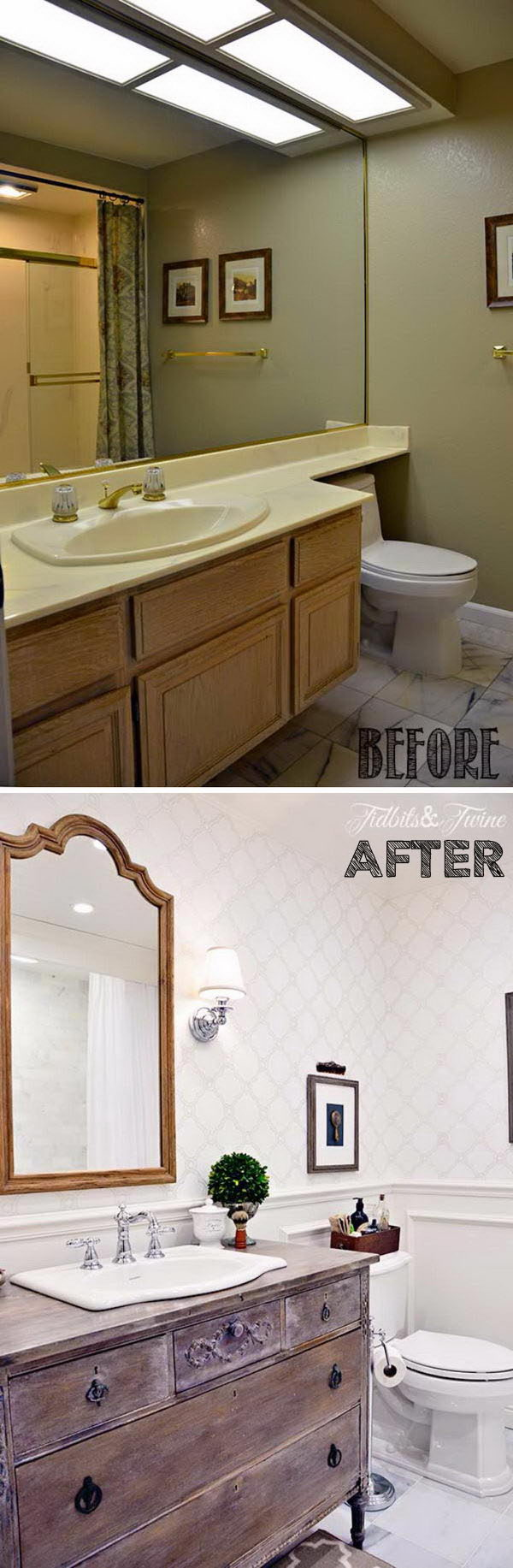 Farmhouse Bathroom Renovation with Wooden Antique Vanity Adding Warmth and Wallpaper Creating The Look of Classic .
