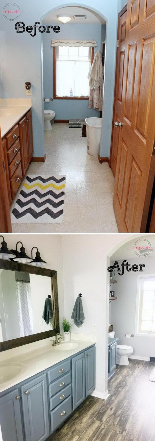 DIY Farmhouse Style Fixer Upper Bathroom On A Budget.