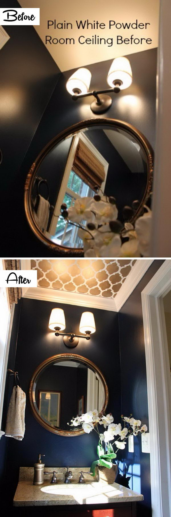 Create Drama On The Ceiling With Stencil.