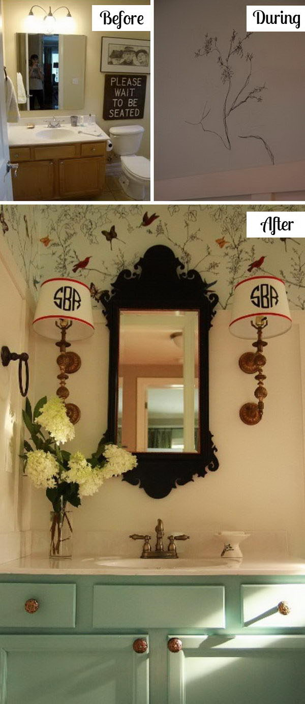 DIY Bathroom Makeover With Faux Wainscoting And Sharpie Art Wallpaper.