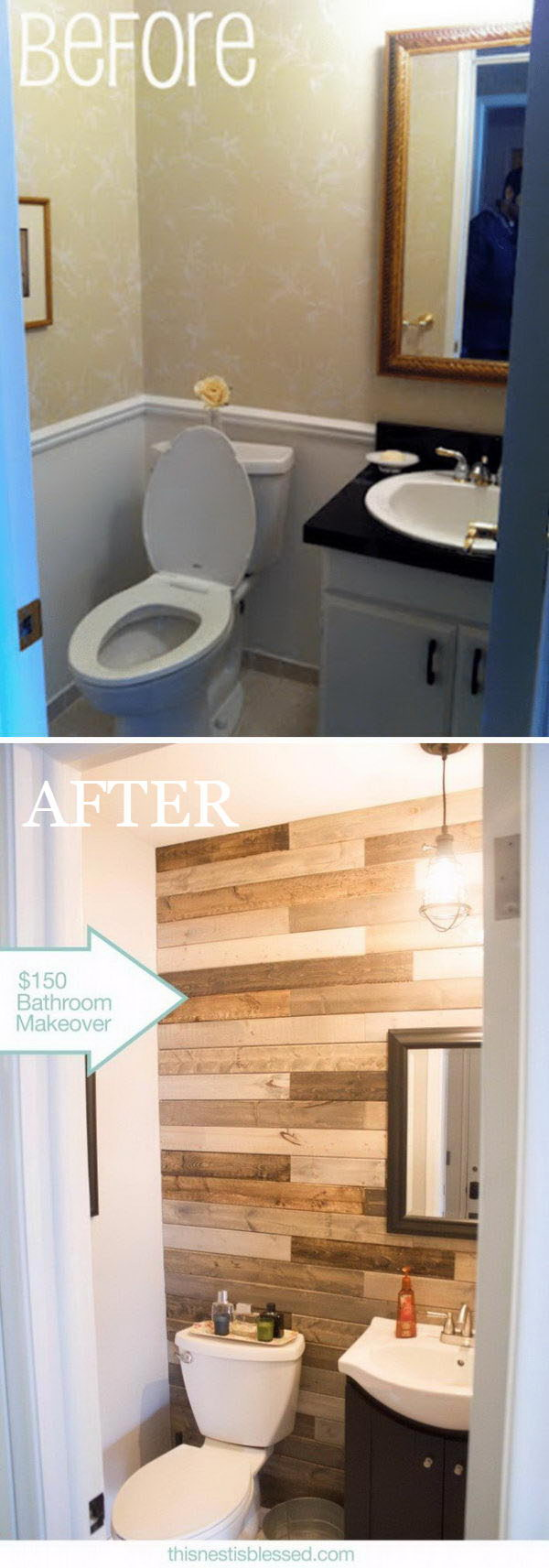 $150 Bathroom Makeover with DIY Pallet Wall without Pallets.
