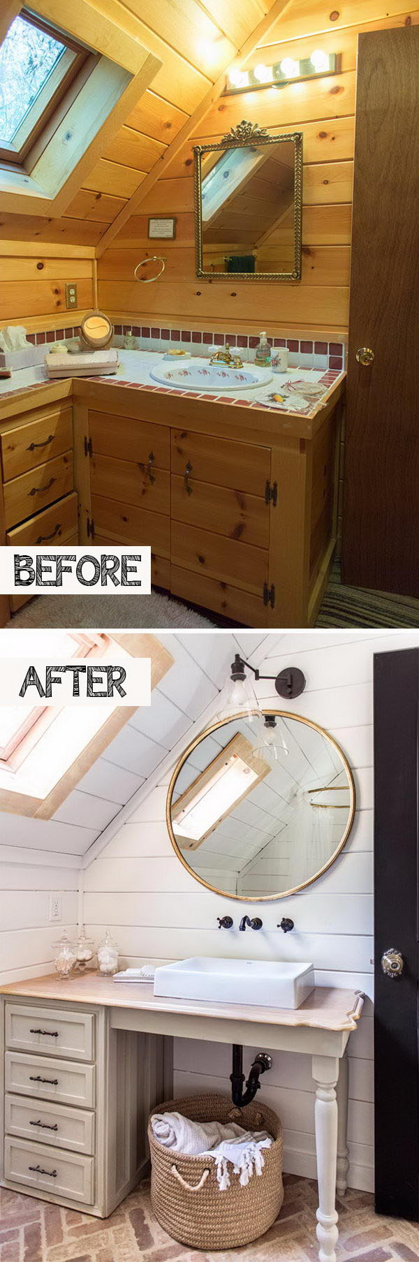 Give Your Attic Bath An Open And Airy Feeling With White Painting And The Sink On Legs.