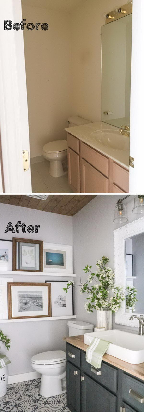 Incorporated A Gallery Wall For Lots More Interest And Something Unexpected In A Bathroom.