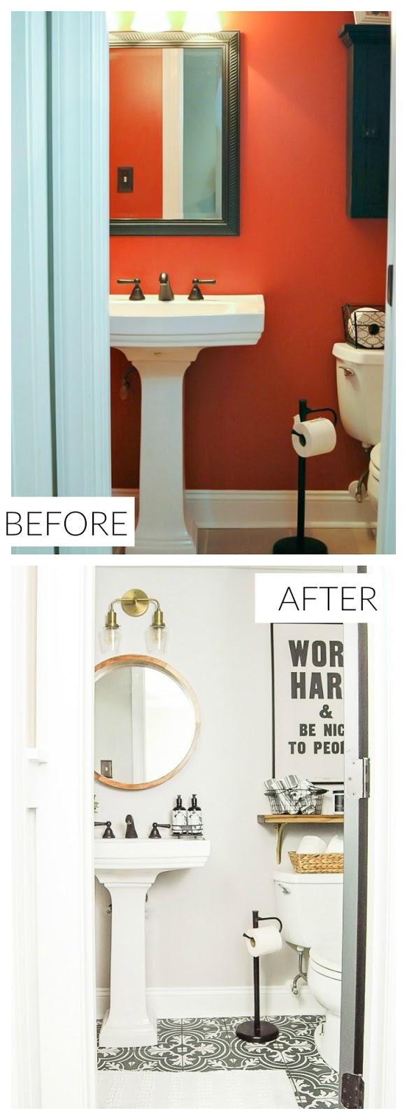Gray and White Vintage Modern Bathroom Makeover.