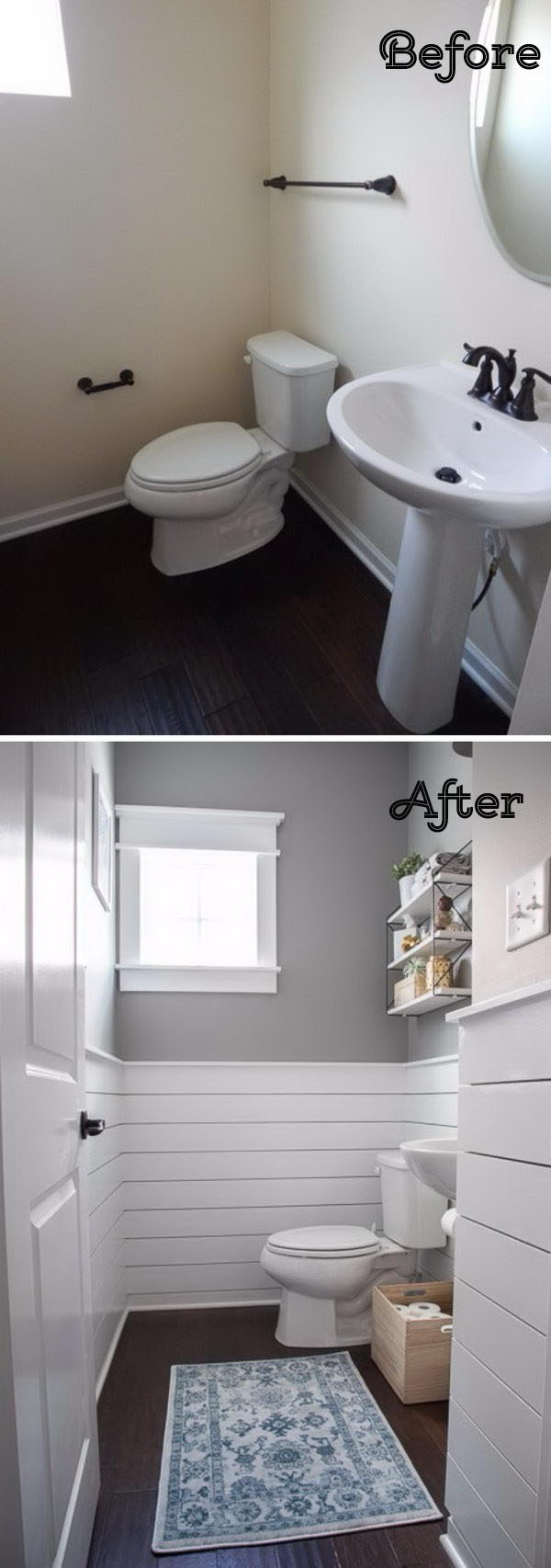 Update a Plain Bathroom By Making a Crisp Contrast Between The White Shiplap and The Light Gray Walls .