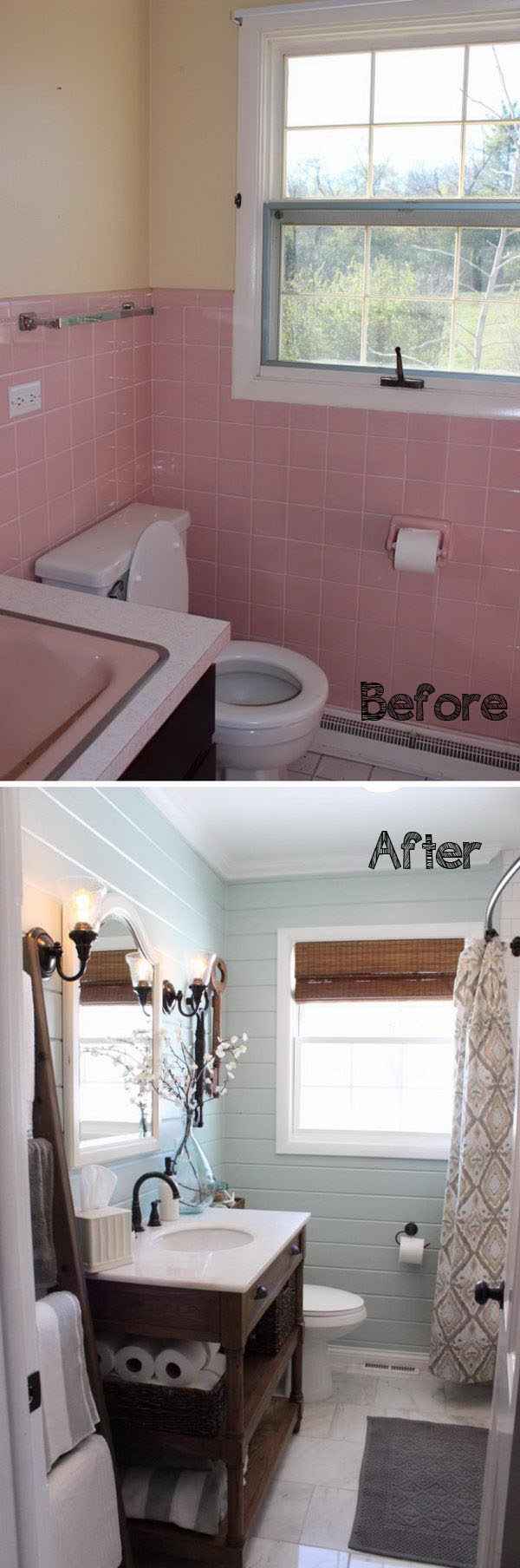 Blue Planked Walls with Crisp White Trim and Wood Details Bring in Farmhouse Style in This Bathroom Renovation .