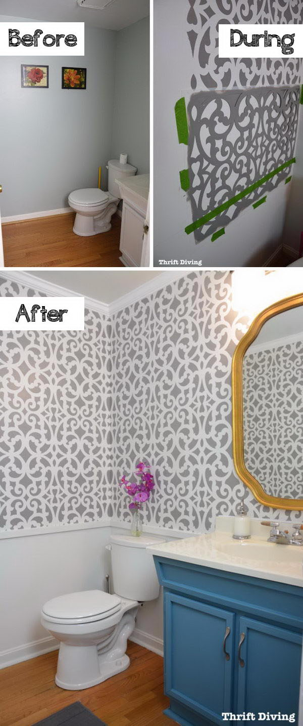 Freshen The Bathroom with Low Cost Updates Including a Wall Stencil, Fresh Paint, New Lighting, and a Thrifted Mirror .