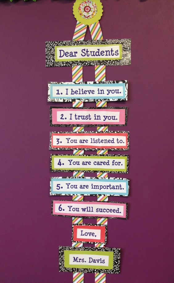 This great classroom decor telling students that the teacher is there for them and not just a scary adult.
