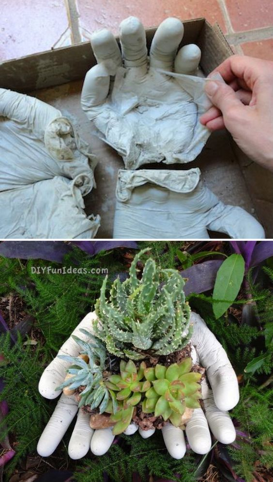 Concrete Hands Planter.