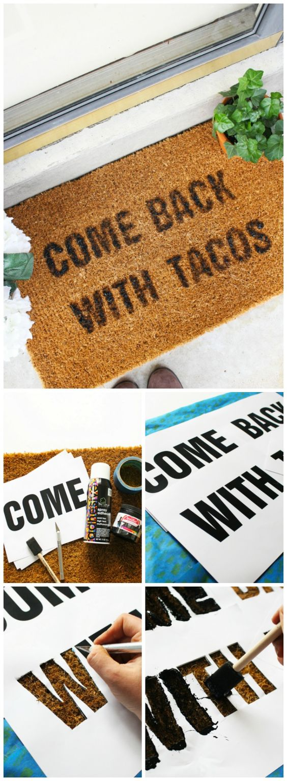 Decorate Your Front Porch or Patio with This Doormat Quote DIY.