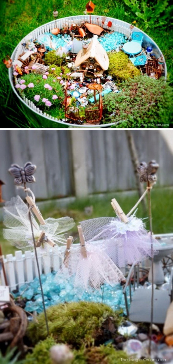 DIY Fairy Garden with Cute Fairy Tutu Washing Line.