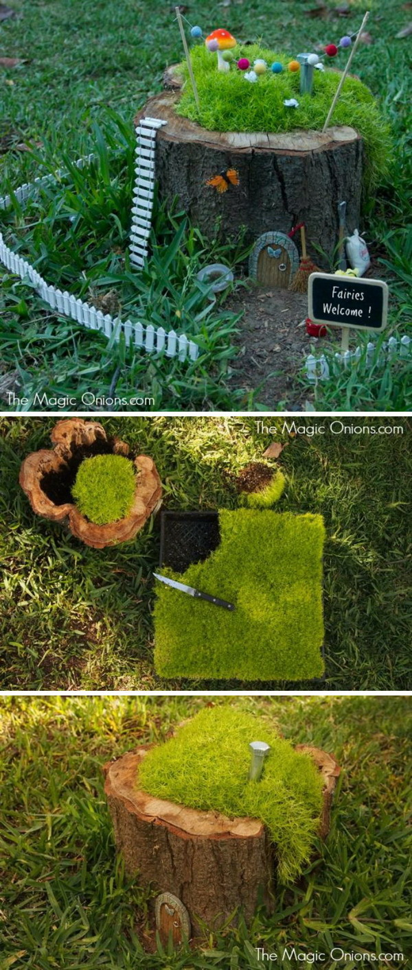 DIY Fairy Garden in a Tree Stump.