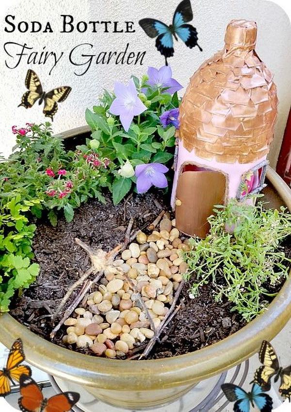 DIY Fairy Garden With A Soda Bottle Fairy Garden House.