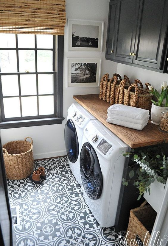 Natural White And Black Tile Floor For Laundry Room.