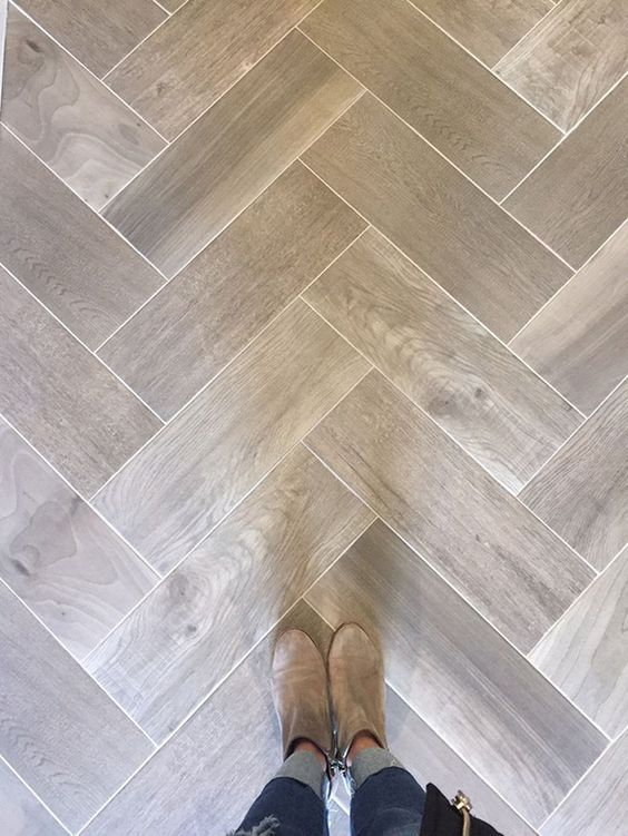 Wood Tile In A Herringbone Pattern.