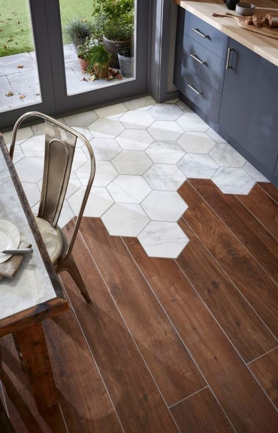 Hexagon Tiles to Hardwood Floor Transition.
