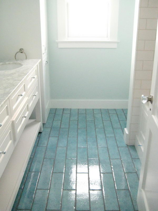 Colored Tiles Flooring Coordinating Wall Color.