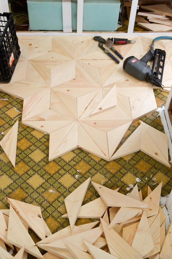 DIY Geometric Wood Flooring for $80.