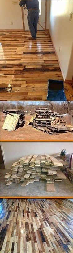 Wood Floors Made From Old Pallets.