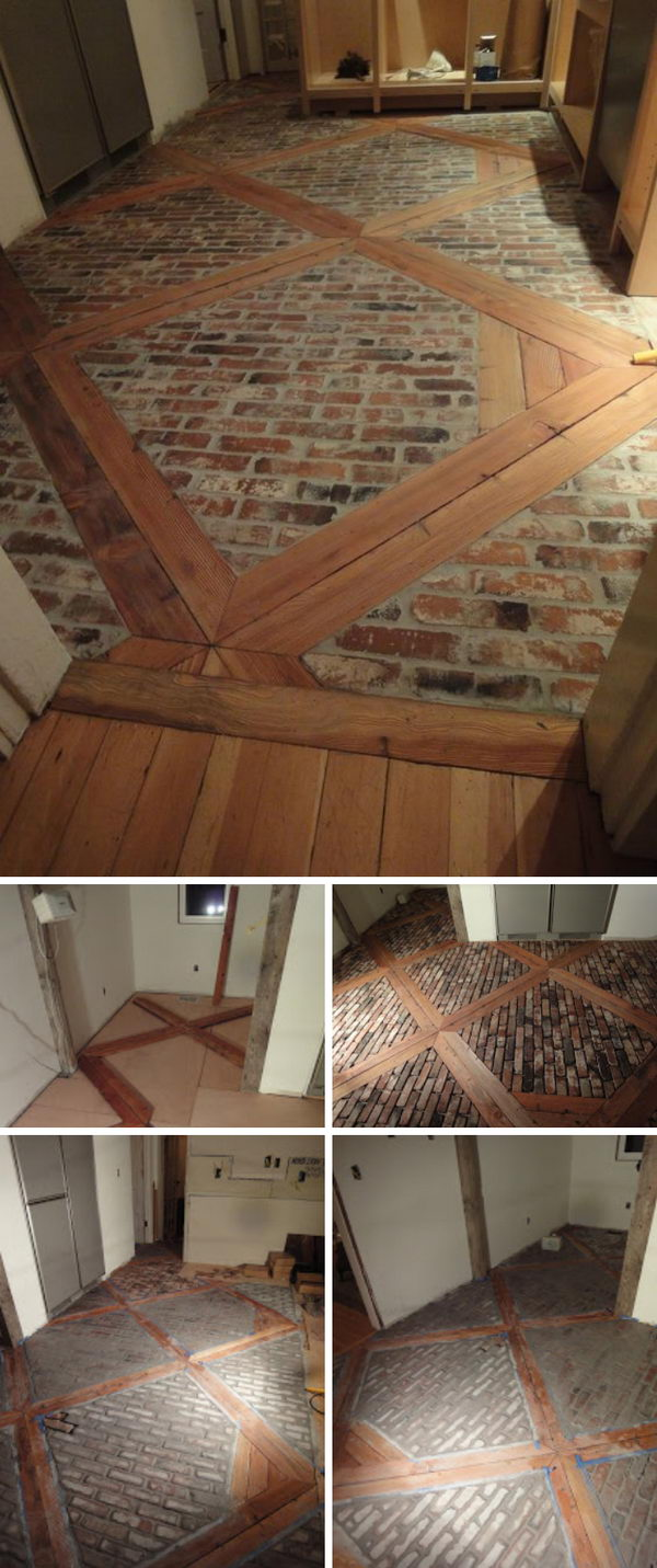 DIY Wood And Brick Floor.