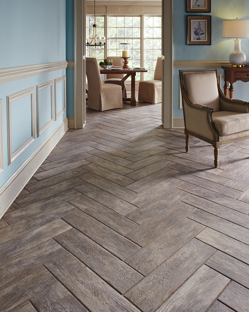 Wood Look Tiles In Herringbone Pattern.