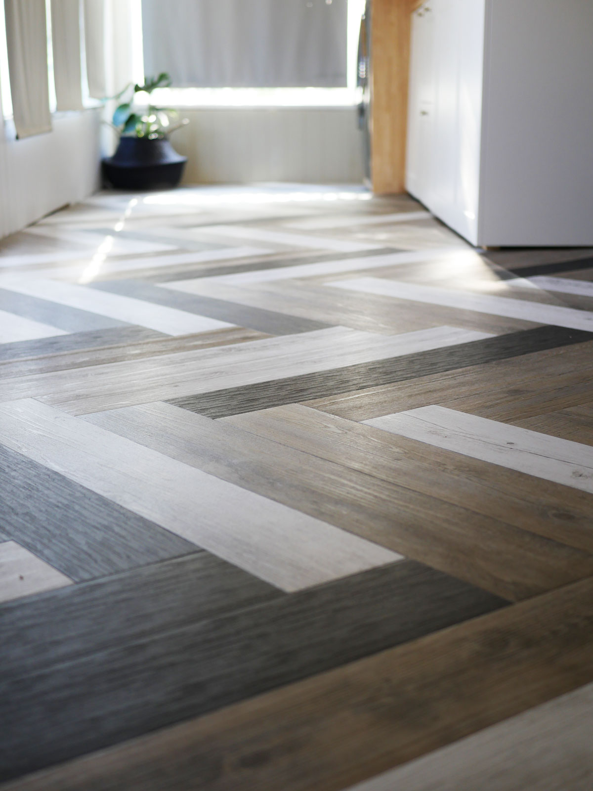 Herringbone Floors With Vinyl Stick Down Planks.