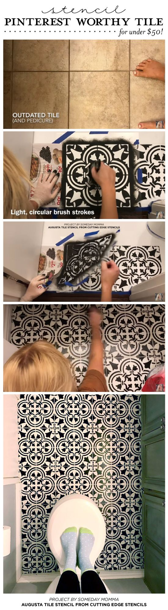 DIY Painted and Stenciled Ceramic Tile Floor.