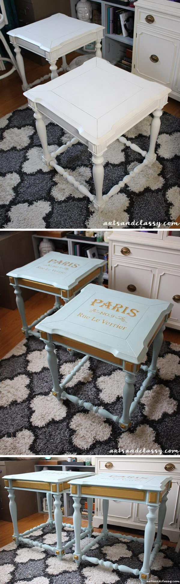 End Tables Get a French Twist Makeover.