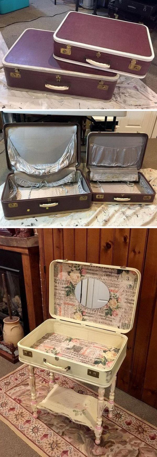 DIY Vintage Suitcase Vanity.