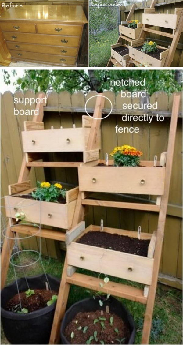 Repurpose Dresser Drawers into a Veggie Garden.