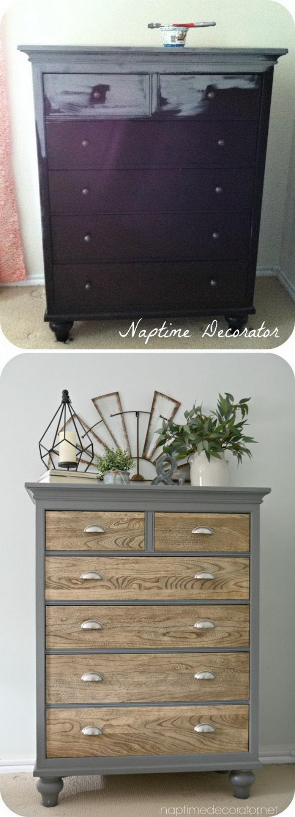 Dresser Makeover with Up cycled Grey Painted Outer Frame.