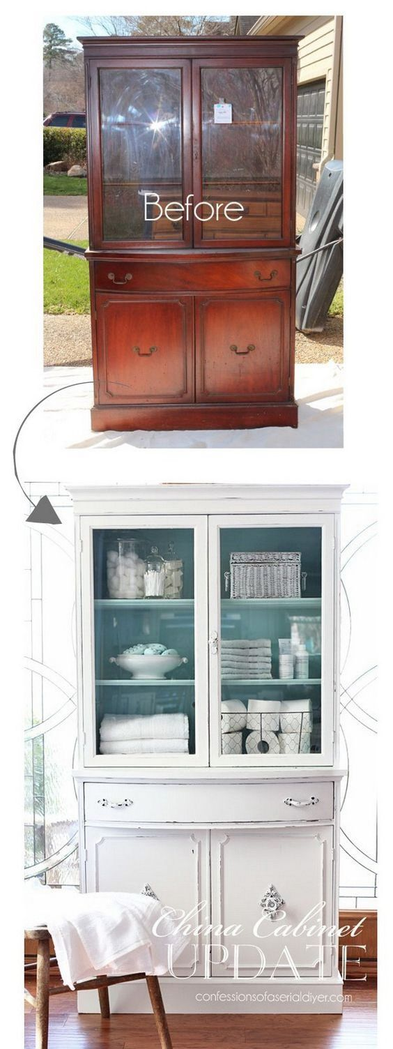 Thrift Store China Cabinet Makeover.