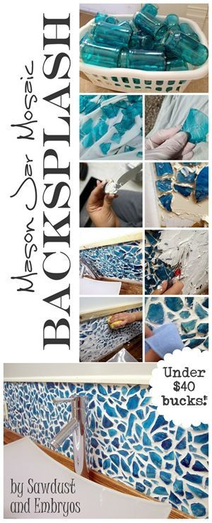DIY Mason Jar Mosaic Backsplash Made From Broken Mason Jar Pieces.