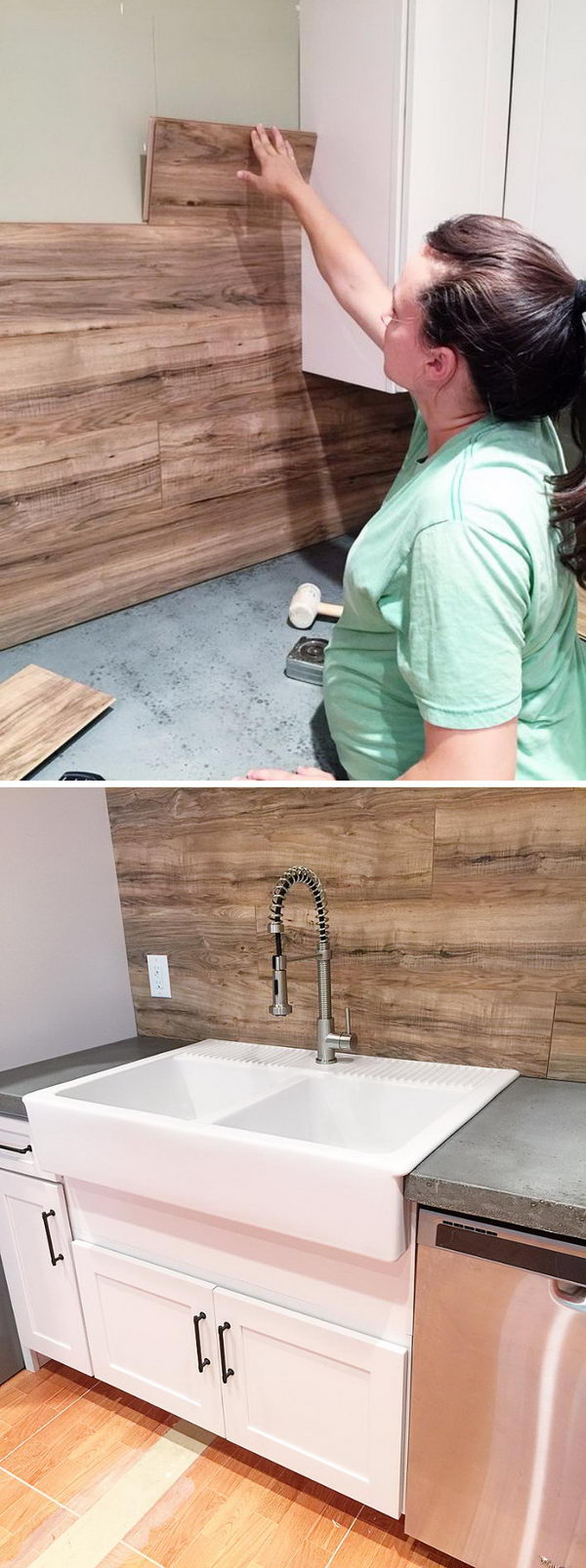 Laminate Flooring As Kitchen Backsplash.