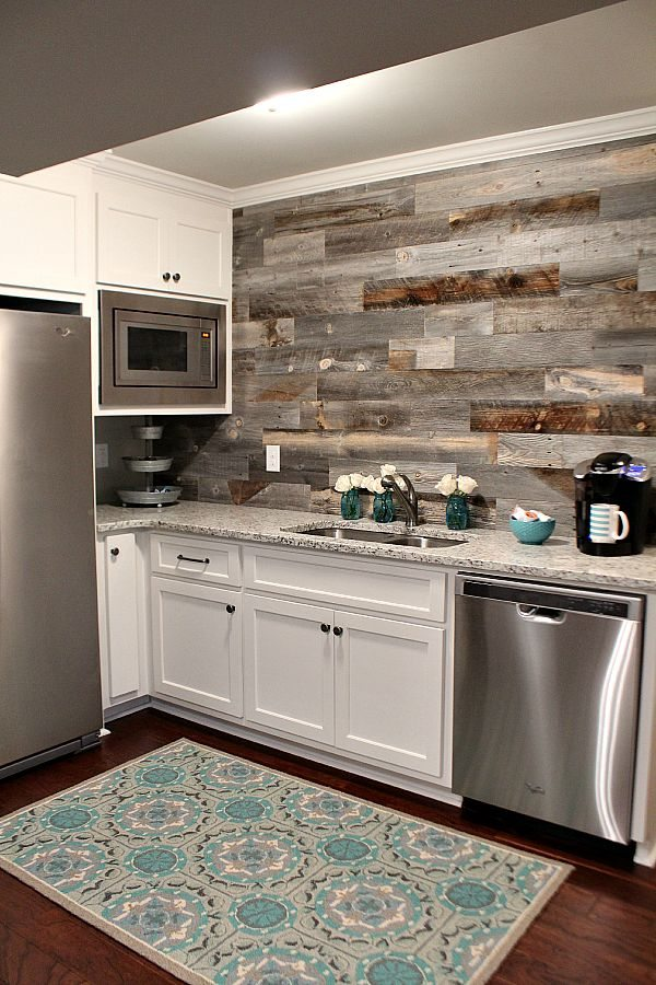 DIY Barn Wood Backsplash.