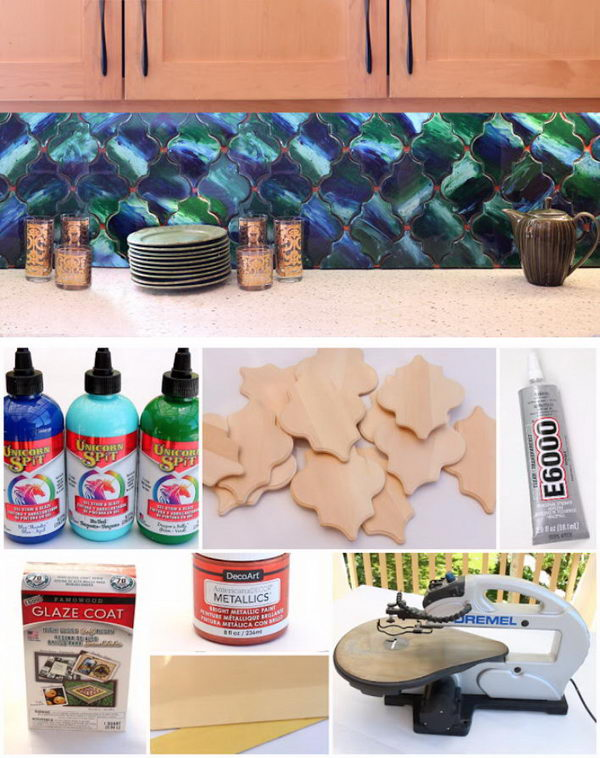 DIY Removable Backsplash Using Easy To Cut Wood Tiles.
