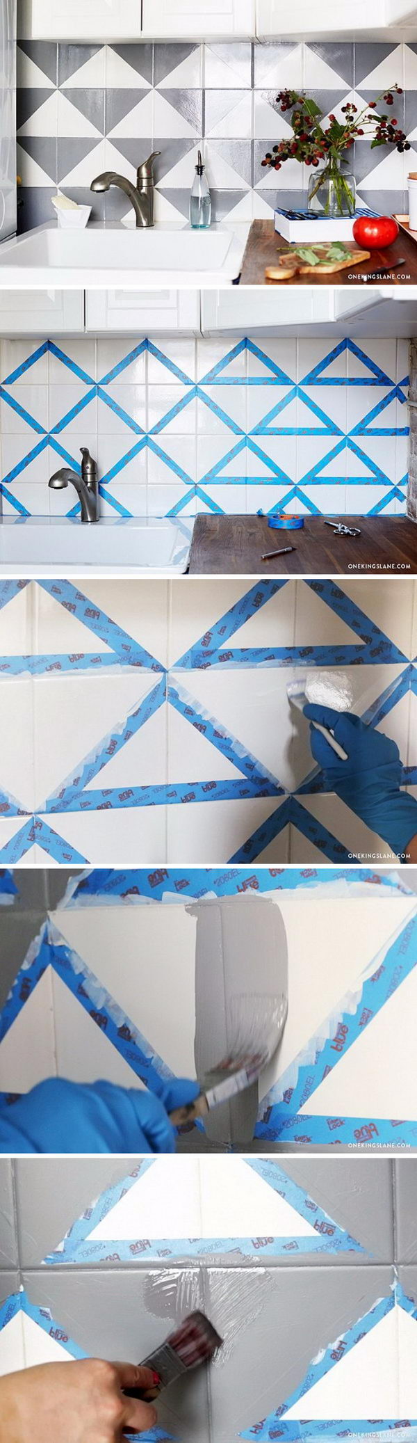 Painted Kitchen Backsplash.