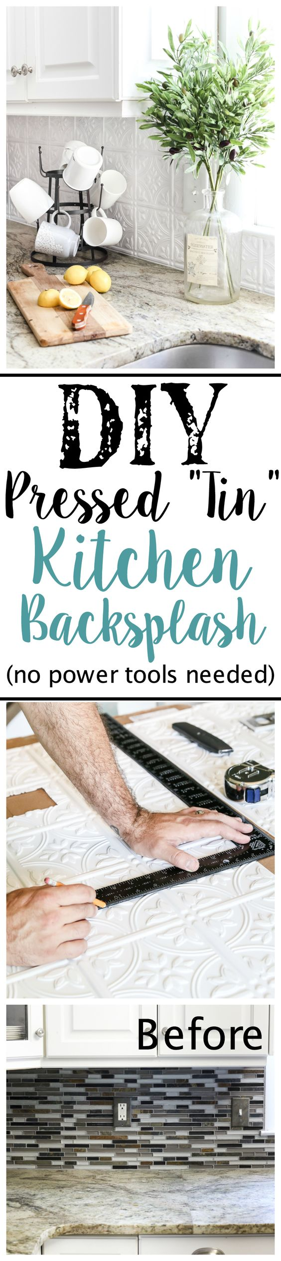 DIY Pressed Tin Kitchen Backsplash.