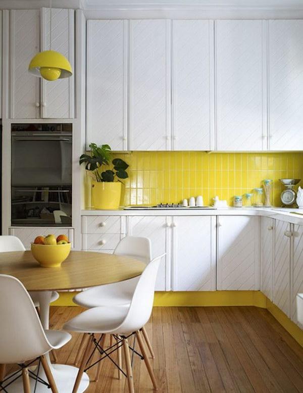 Yellow Subway Tile Backsplash against the Sleek White Cabinets