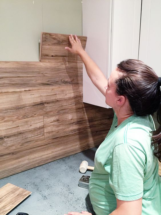 Laminate Flooring Backsplash That Looks Like Wood.
