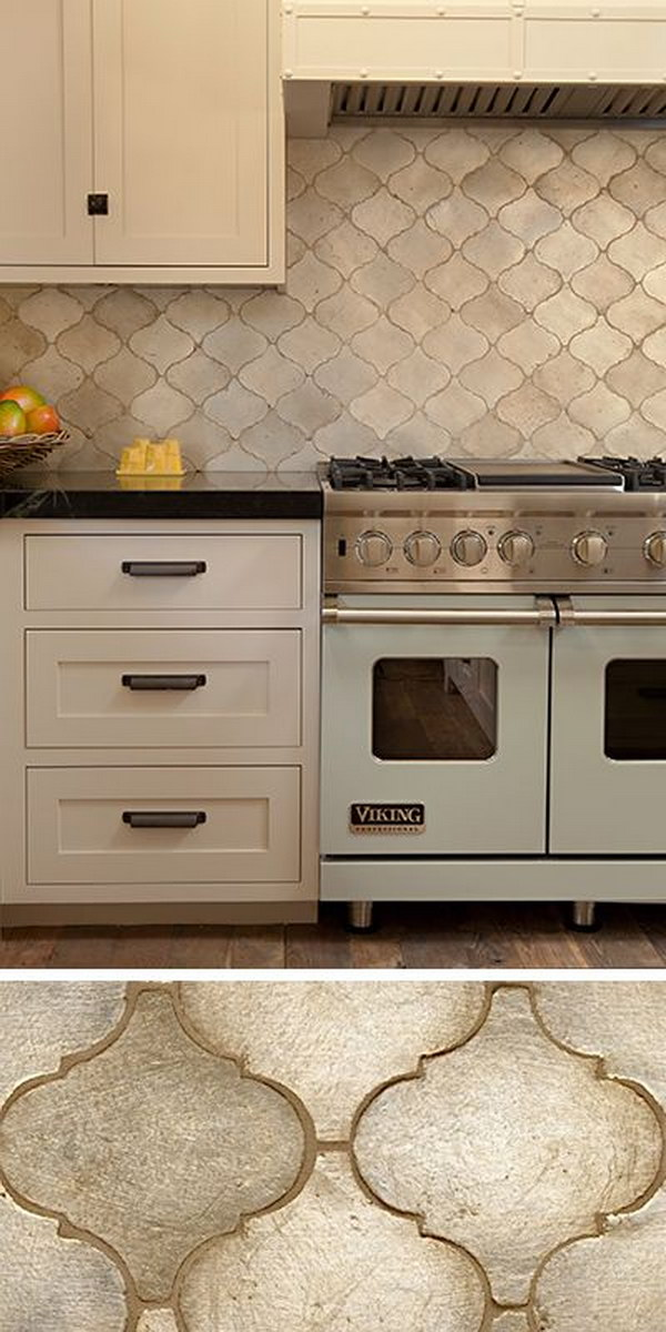 Beautiful Walker Zanger Contessa Arabesco Silver Leaf Tile Backsplash
