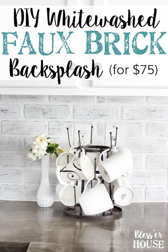 DIY Whitewashed Faux Brick Backsplash.