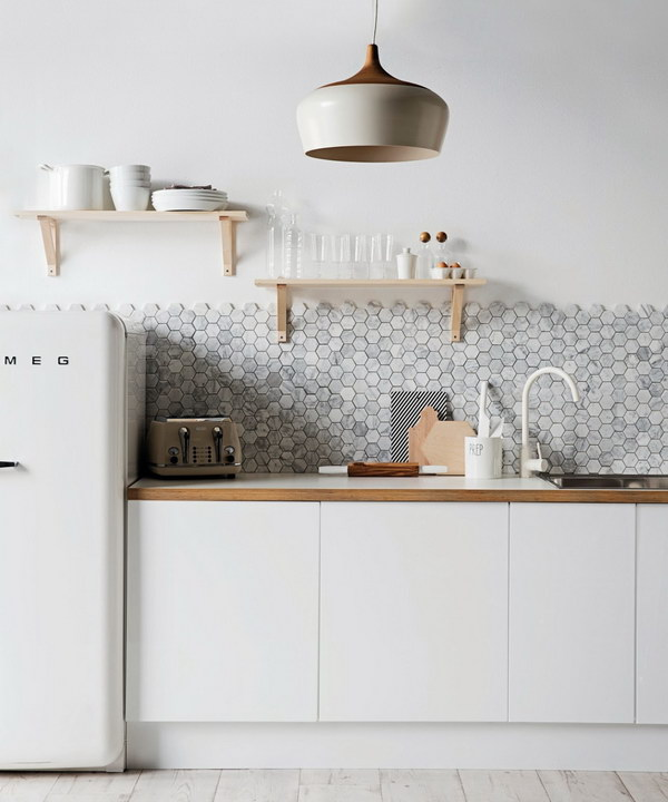 Grey Hexagonal Carrara Marble Backsplash with Minimalist Cabinetry